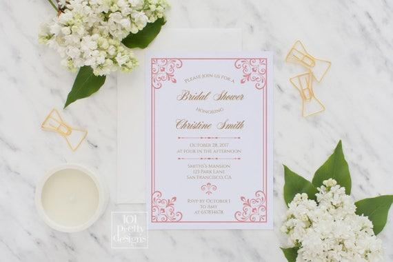 Elegant printable bridal shower invitation pink gold invitations art il570xn filmwisefo Gallery