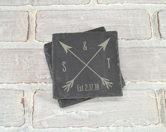 Wedding Date Coasters. Wedding Present. Anniversary Gift. Custom Engraved Coasters - Slate Coasters - Housewarming Gift