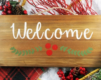 "Wooden Christmas Welcome Sign - 5"" by 12"""
