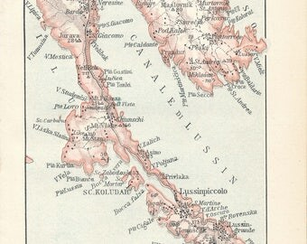 1913 Losinj Croatia Antique Map