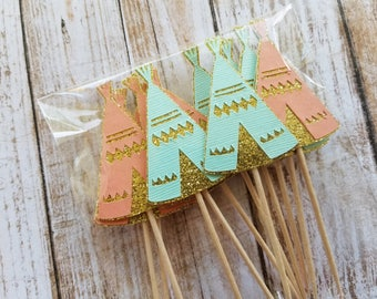 Teepee Cupcake Toppers... Young Wild & Three... Mint and Pink... Baby Girl