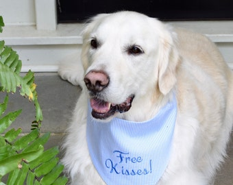 Free Kisses! Light Blue Seersucker Bandana || Preppy Tone on Tone Dog Pet Scarf || Puppy Gift by Three Spoiled Dogs