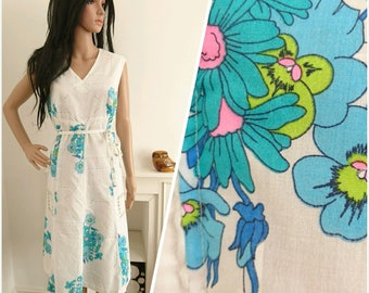 Vintage 70s Turquoise Daisy Geo Cotton Shift Tunic Dress Mod Boho / UK 14 16 / EU 42 44 / US 10 12