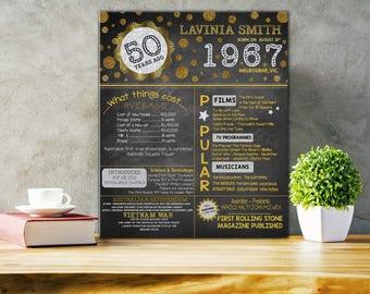 1967 Australian 50th Birthday Poster 50th Birthday Chalkboard 50th Birthday Gift Printable File