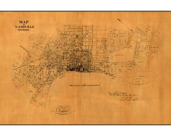 Old City Map of Nashville Tennessee - Civil War Americana - Army Engineer Map - Old Maps and Prints - Music City Wall Decor - Historic Gift
