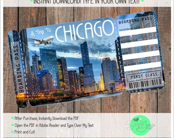 Printable Ticket to Chicago Boarding Pass, Customizable Template, Digital File - You Fill and Print