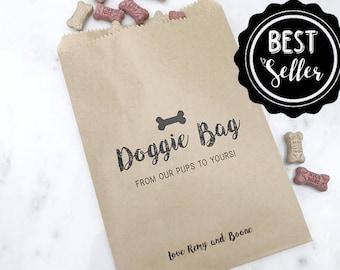 Doggie Bag Favor Bag - Dinner Menu Collection - Favor Bags - Custom Printed on Kraft Brown Paper Bags