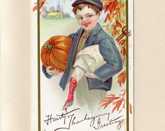 Boy in Fall Scene with Pumpkin and Turkey Thanksgiving Postcard Big Smile Orange Leaves Gold Border Stecher Litho Co Embossed Used - 8479P