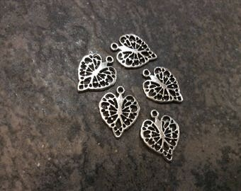 Filigree Heart Charms package of 5 with shiny silver finish Lacy heart charms with a scroll pattern