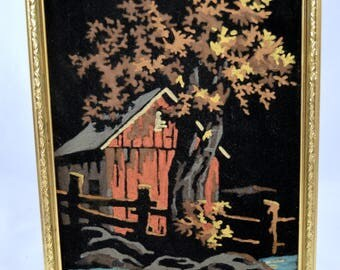 Vintage Finished Paint By Number Black Velvet Barn Fence Tree Scene Rustic Barn Rustic Country Scene Black Velvet Paint By Number Framed