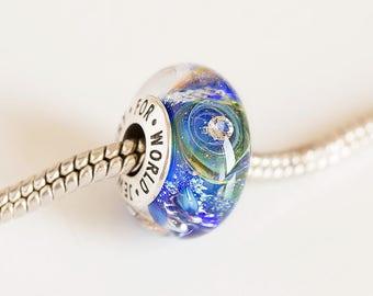 Lampwork galaxy Cubic zirconia bead. Lampwork bead. Silver cored bead. Big hole bead, Fits Pandora. European charms. Blue bead. Murano glass