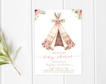Baby Shower Invitation, Boho, Boho Shower Invites, Tribal, Teepee, Baby Shower Invites for Girls, Baby Girl, Girl Baby Shower Invites [379]