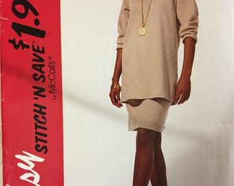 McCalls 7209 - Stitch N Save Stretch Knit Tunic with Side Slits and Straight Skirt in Above Knee Length - Size 18 20 22 24