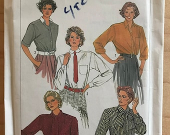 Simplicity 7073 - 1980s Button Front Blouse with Bow Tie, Peter Pan, or Pointed Collar - Size 10 12 14