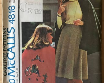 McCalls 4816 - 1970s Easy to Sew Cape and Flared Skirt in Knee Length with Western Styled Transfer - Size 12 Bust 34