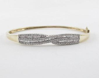 "10k Yellow Gold Diamond Bangle Bracelet 7 1/2"" 1.00 carat"