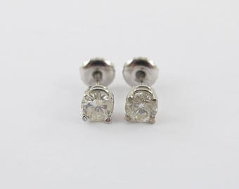 14k White Gold Diamond Stud Earrings 0.60 ct - Genuine Natural Diamonds