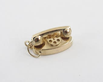 Vintage 14k Yellow Gold 3D Rotary Phone Charm