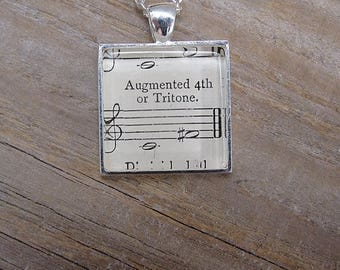 "Musician Necklace - ""Augmented 4th or Tritone"" - Gift for Musician"