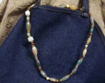 Vintage Slip Over/ Clasp-less Polished Rock Necklace