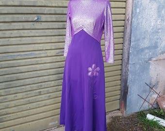 Vintage purple lurex applique maxi dress 1970's