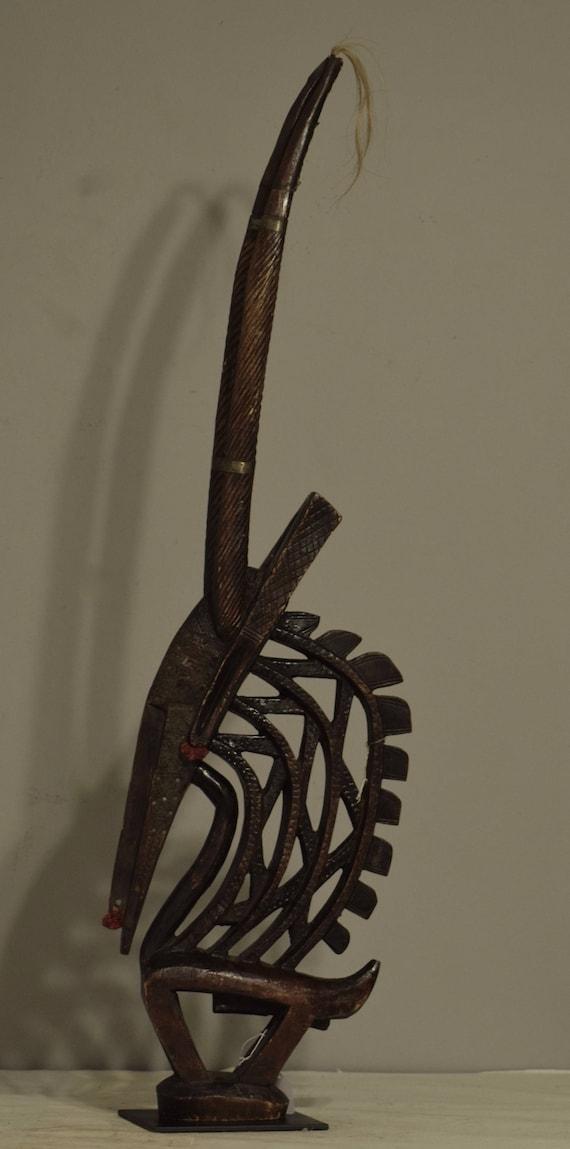 African Headdress Male Chi Wara Wood Hat Headdress Antelope Mali Handmade Dancing Harvest Fertility Mythical Wood Chi Wara