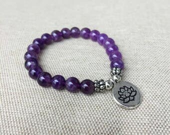 Amethyst Bracelet, lotus Healing Energy Bracelet Boho bead bracelets stretch bracelet, Handmade elastic bracelet, wrist mala, yoga aum om
