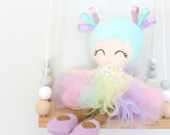 Cloth Doll - Fabric Doll - Ballerina Doll - Heirloom Doll - Doll with Tutu - Miss Sprinkles - Made to Order