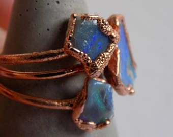 Opal crystal ring - fire opal ring - rough crystal ring - copper crystal ring - opal stone ring - boho ring - raw stone ring - gifts for her
