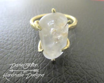 Raw Quartz Ring - Quartz Jewelry - Brass Ring - Claw Ring - Crystal Claw Ring - Hammered Ring -