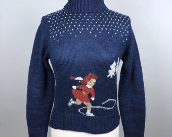 Vintage 70s Gap Sweater Womens Medium (Fits Small) Navy Blue Turtleneck Ice Skater Intarsia