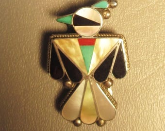 Zuni Old Pawn Bolero Thunderbird Sterling Silver Turquoise Coral Onyx MOP Inlay