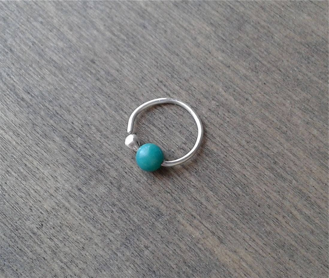 turquoise hoop earring silver helix cartilage daith. Black Bedroom Furniture Sets. Home Design Ideas