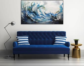 Large Abstract Seascape Painting Ocean Wall Art/ Large Abstract Art On Canvas/ Original Painting Blue Wall Art Coastal Wall Decor Modern Art