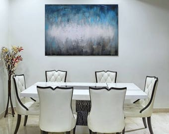 Neutral Painting Abstract Art/ Blue Wall Art Acrylic Painting/ Abstract Art On Canvas/ Original Painting Living Room Bedroom Art Christovart