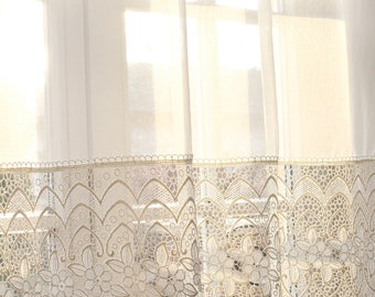"""ANNEBELL' Ivory Applicated Macramé Lace Classical Chic W52"""" /   132cm by the Yard or Custom"""