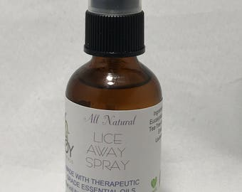 Head Lice 2oz Spray, All Natural Lice Spray, made with pure essential oils. Essential Oils know to keep lice away.