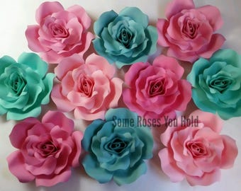 Pink & Teal Paper Flower Backdrop,10pc Paper Roses Set,Paper Flowers Wall Decor,Baby Shower Backdrop,Paper Roses,Party,Wedding,Nursery Wall