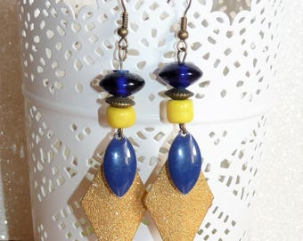 Earrings ' bronze earrings enamel geometric sequin, beads Navy Blue and yellow