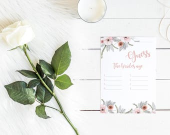 Guess the Bride's Age Bridal Shower Games Bridal Shower Bridal Shower Game Wedding Shower Floral Bridal Shower Destination Wedding