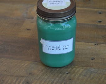 Handcrafted 16 oz Peppermint Eucalyptus Soy Candle in Mason Jar