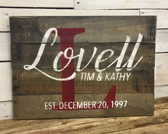 Rustic Farmhouse Style Wood Family Name Sign, Custom Name Sign, Personalized Wood Sign, Family Established Sign, Pallet Family Name Sign