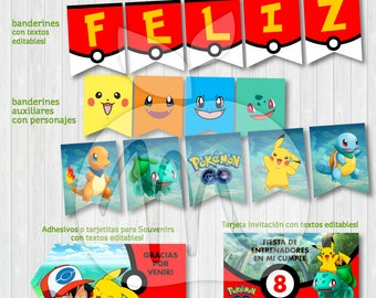 Pokemon GO! Printable and editable texts kit. Baby shower or birthday party! INSTANT DOWNLOAD!