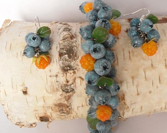 cloudberry blueberry bracelet polymer clay jewelry berry jewelry blueberry jewelry blueberry earrings cloudberry earrings gift for woman