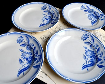 Set of 4 French Plates Vintage Ironstone Antique Digoin Sarreguemines Blue Stencilware Plates Andre