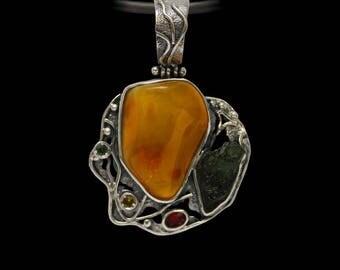 Amber pendant, Moldavite Pendant, Meteorite Pendant, Gift for her