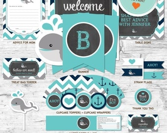 Whale Baby Shower Decorations, Teal, Gray, Navy, Chevron, Chalkboard | DIY