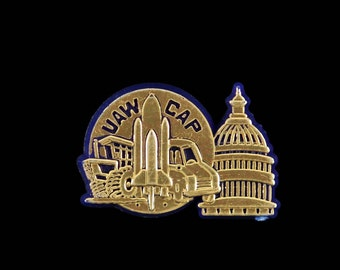 Vintage UAW CAP United Auto Workers Lapel Pin Hat Pins Retirement Recognition Plastic Blue and Gold Pin Citizenship Legislative Committee