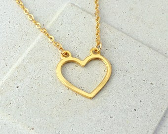 Gold Heart Necklace, Minimalist Necklace, Heart Necklace, Dainty Heart Necklace, Open Heart Necklace, Heart Jewelry, Gold Minimal Necklace