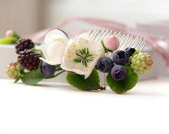 Wedding comb Rustic wedding hair comb flower comb Bridal hair piece Bridal hair accessory photoshoot party Comb for hair berries blueberries